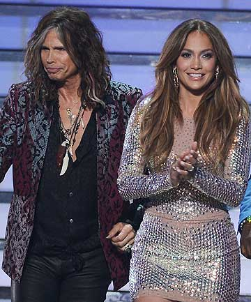 Departing American Idol judges Steven Tyler and Jennifer Lopez.