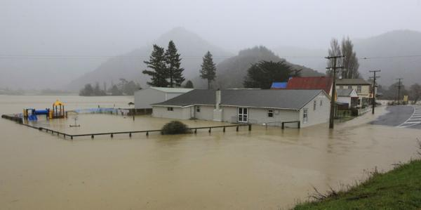 The flooded Canvastown township in Marlborough.