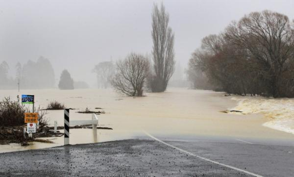 Daltons Culvert is covered by the flooded Pelorus River closing State Highway 6 in Marlborough.