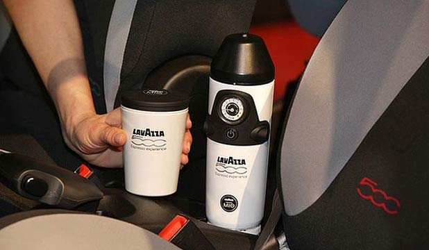 Fiat claims to have developed the first in-car espresso machine.