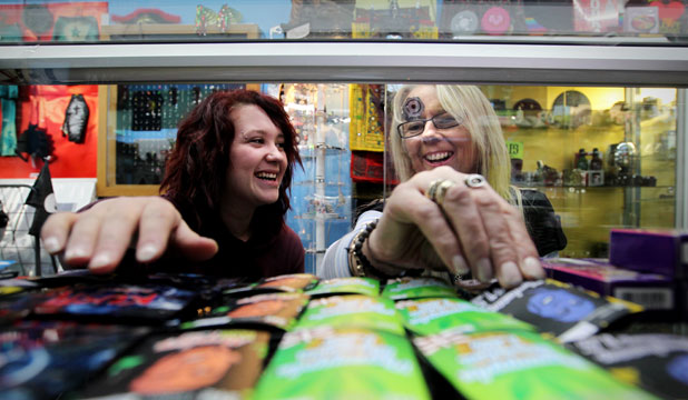 Dizzy Spells owner Megan Devries – at right, with retail assistant Anna Jacobs