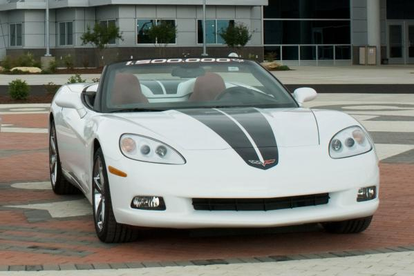 The 1.5 millionth Corvette outside the US National Corvette Museum in Kentucky.