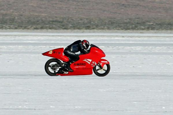 The world record-setting A-Ward Attachments Suzuki Hayabusa motorcycle.