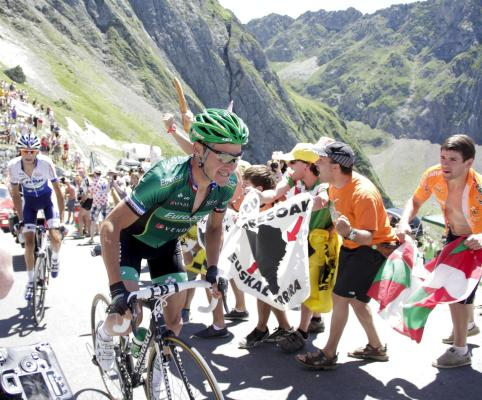 Thomas Voeckler of France riding for Europcar celebrates as he wins stage 16 of the 2012 Tour de France from Pau to Bagneres-de-Luchon on July 18, 2012 in Bagneres-de-Luchon, France.