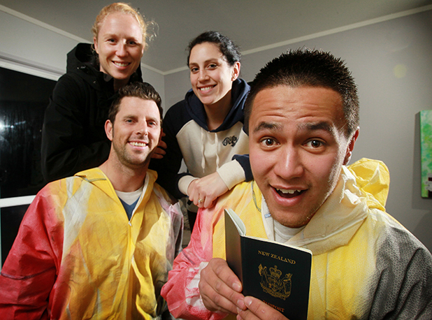 Adrian Pooley, left, with partner  Waikato Bay of Plenty Magic captain Laura Langman, and Cameron Waitapu, with his wife, goal attack Jess Waitapu, have had to arrange urgent passports to make Sunday's ANZ Netball Ch