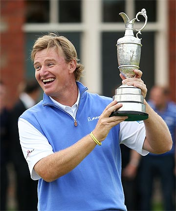 WIN: Ernie Els poses with the Claret Jug.