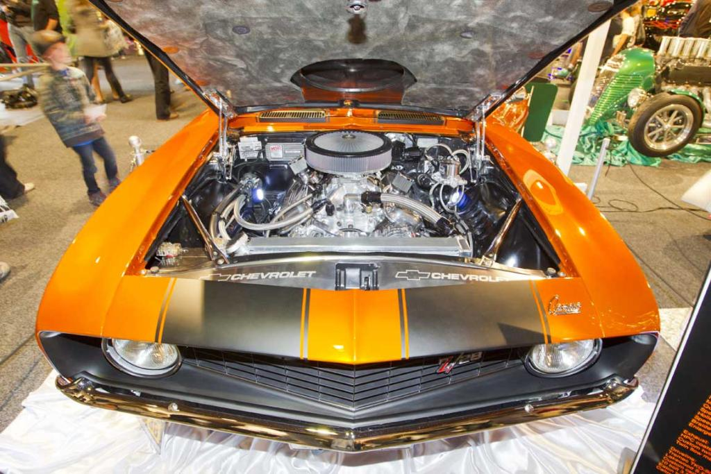 A 454 overbored big block V8 under the hood of a Chev Camaro hotod CRC Speedshow.