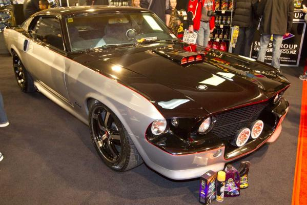 A customised Ford Mustang on display at the CRC Speedshow.