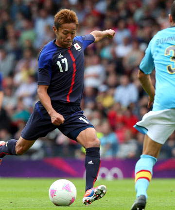 Japan's Hiroshi Kiyotake in action during his side's upset win over Spain in men's football at the London Olympics.