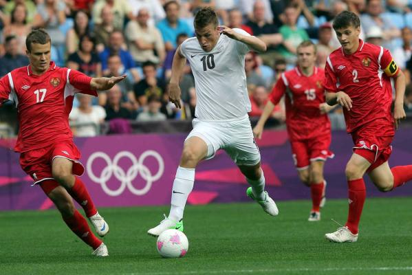 New Zealand's Chris Wood attacks during the side's loss to Belarus at the London Olympics.