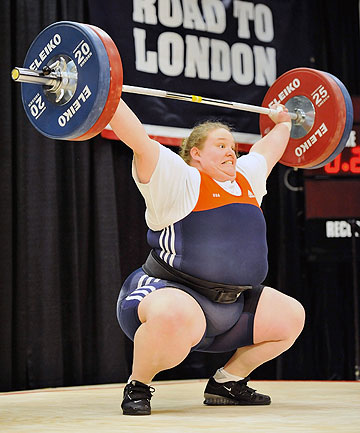 Holley Mangold successfully snatches 110 kilograms during the US Olympic Team Trials for women's weightlifting.