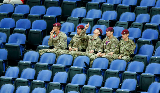 Soldiers in seats