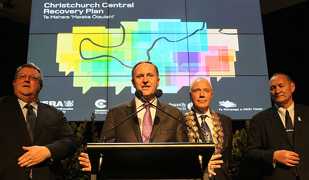 VISION LAUNCHED: From left to right, Earthquake Recovery Minister Gerry Brownlee, Prime Minister John Key, Christchurch Mayor Bob Parker and Ngai Tahu council chairman Mark Solomon at the launch of the blueprint for rebuilding Christchurch.