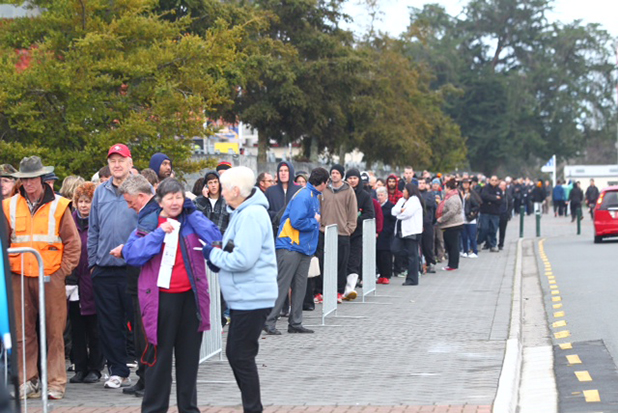 LOYAL: Chiefs fans queue for tickets for the Super Rugby final on Saturday.