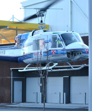 The Iroquois helicopter arrives at the TSB Hub