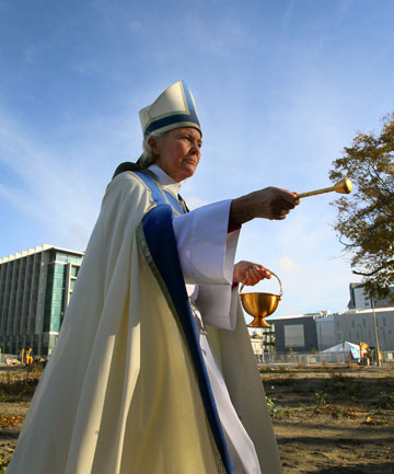 Bishop Victoria Matthews blesses the site where th