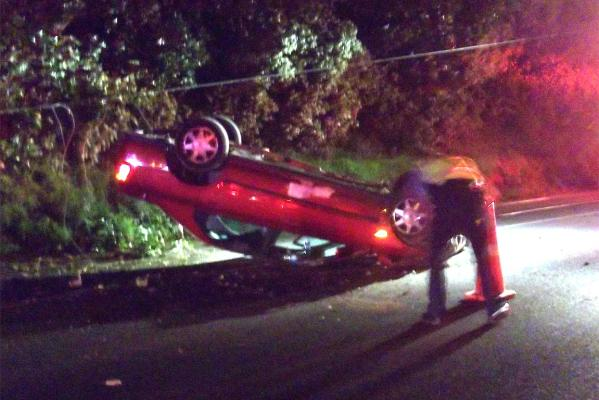 The car that hit a power pole in the northbound lane of SH2.
