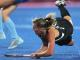 New Zealand's Gemma Flynn has a crack at goal during their women's hockey match against Argentina at the London Olympics.