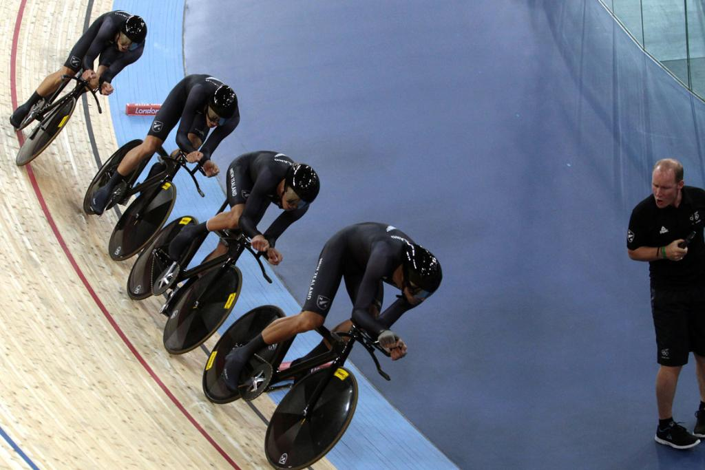 New Zealand men's pursuit team, with coach Tim Carswell yelling instructions at the London Olympics.