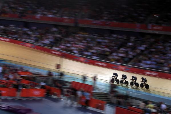 New Zealand men's pursuit team in qualifying action at the London Olympics.