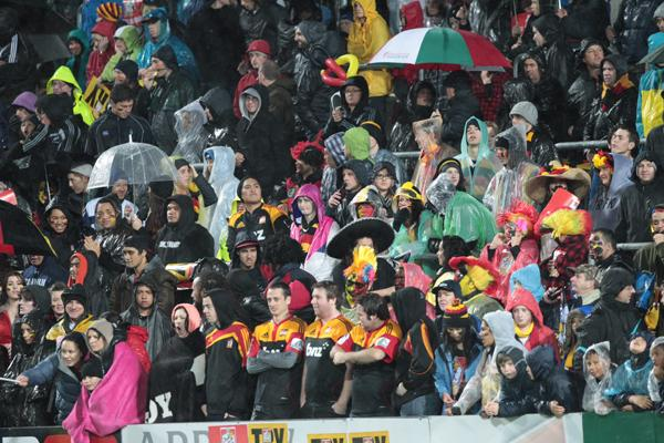 Fans at the Waikato Stadium before the Super Rugby final between Chiefs and Sharks.