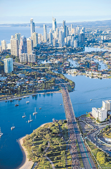 PRIORITIES: Thousands of runners pass up the usual attractions of the Gold Coast to test themselves in this year's marathon.