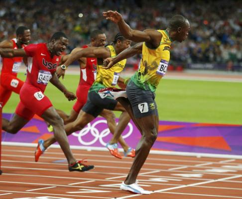Jamaica's Usain Bolt win's the men's 100m final at the London 2012 Olympic Games.