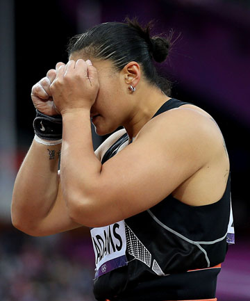 New Zealand's Valerie Adams reacts after failing in her bid to win gold in the women's shot put final at the London Olympics.
