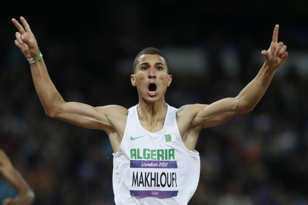 Algeria's Taoufik Makhloufi celebrates after winning the men's 1500m final at the London 2012 Olympic Games.