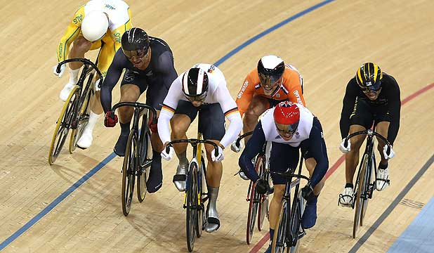 The finish of the men's keirin cycling event at the London Olympics. NZ's Simon van Velthooven (second from left) finishes third equal for a bronze medal with Teun Mulder of the Netherlands (fourth from left).