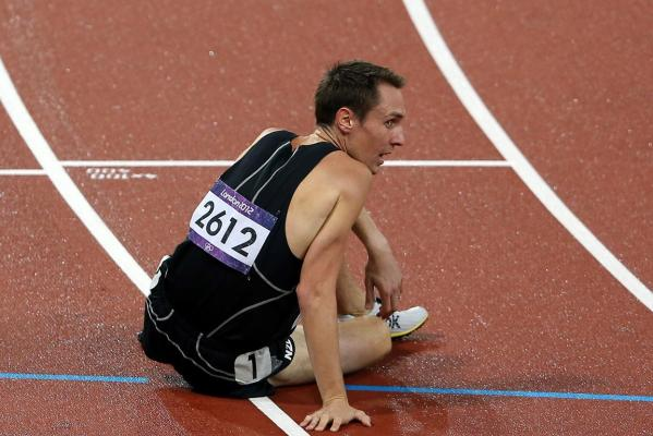 A disappointed New Zealand's Nick Willis at the end of the men's 1500m final at the London Olympics.