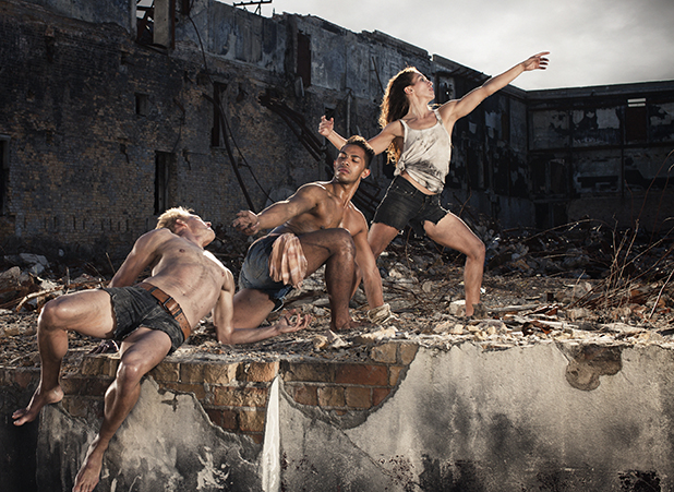 Daniel McCarroll, Thomas Fonua and Zoe Watkins are three of seven dancers in Black Grace's Waka.
