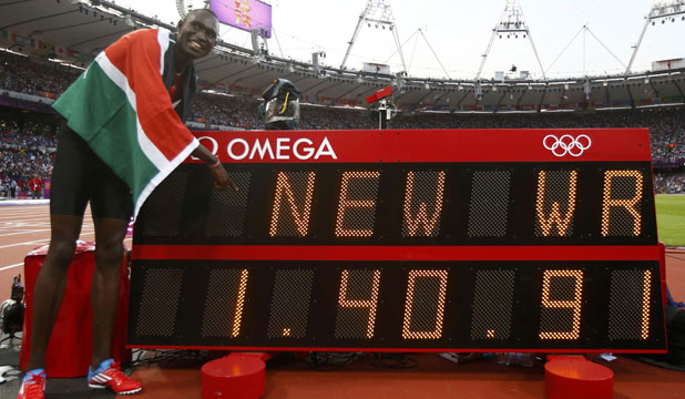 Kenya's David Lekuta Rudisha points to the new world record he set after winning the men's 800m final at the London Olympic Games.