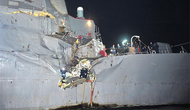 CRUNCH: The collision left a breach about three square metres in the starboard side of USS Porter.
