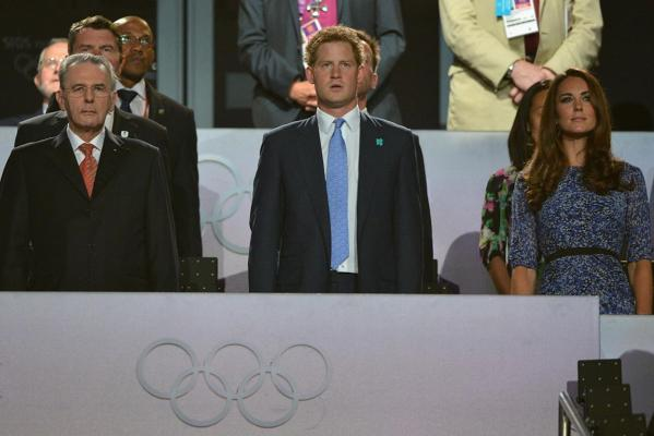 IOC president Jacques Rogge, Prince Harry and Catherine, Duchess of Cambridge