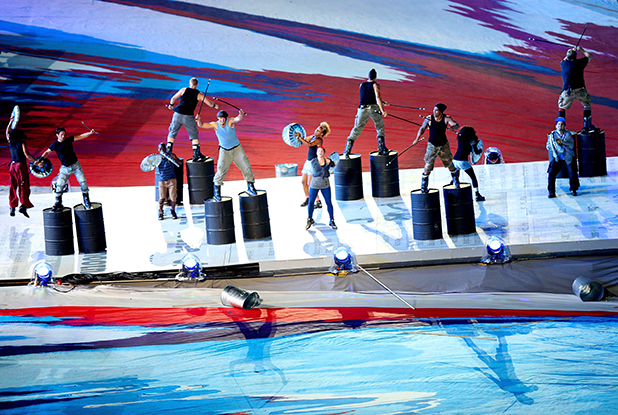 PROUD MOMENT: Te Awamutu's Ian Vincent, on fifth barrels from left, performs with Stomp at the 2012 London Olympics closing ceremony.