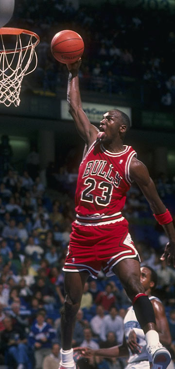 A 1992 file photo of Michael Jordan playing for the Chicago Bulls.