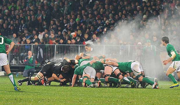 Steam rises from a scrum during the second test between the All Blacks and Ireland in Christchurch.