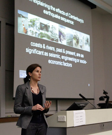 University of Canterbury coastal scientist Deirdre Hart speaks at the Australasian Natural Hazards Management Conference.