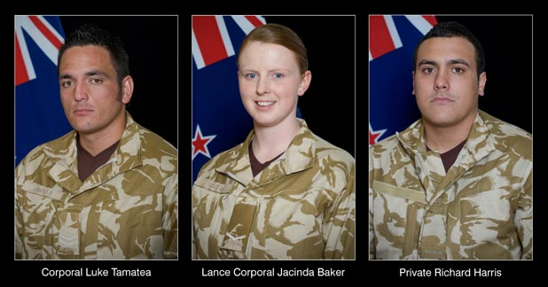 FALLEN: Corporal Luke Tamatea, 31, Lance Corporal Jacinda Baker, 26, and Private Richard Harris, 21.
