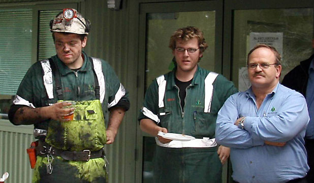 Daniel, left, Ben and Neville Rockhouse at a Pike River mine barbecue before the explosion, which killed Ben and injured Daniel.