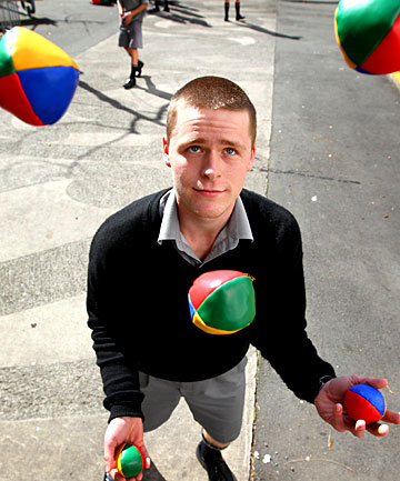 New Plymouth Boys' High School student Bradley Meredith demonstrates his juggling repertoire