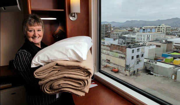 Head housekeeper Kaye Scales-Thain makes final preparations at the Ibis Hotel ahead of today's reopening.