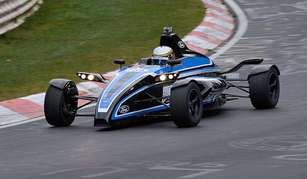 The little Formula Ford Ecoboost on its way to lapping Nurburgring in 7:22.
