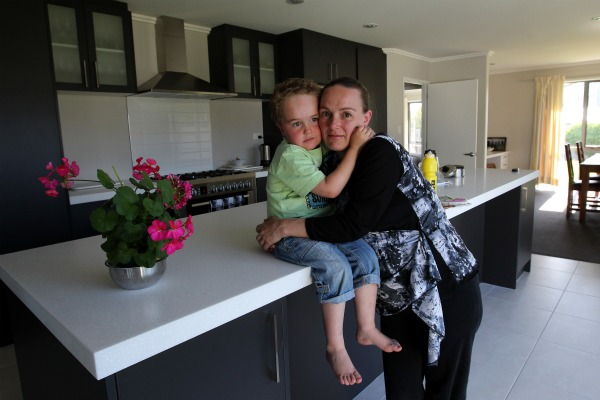 Heart-breaking: Despite getting council approval to build her new home in Seaward View, Brooklands, after the February quake, Simone and her five-year-old son Joseph now have to leave.
