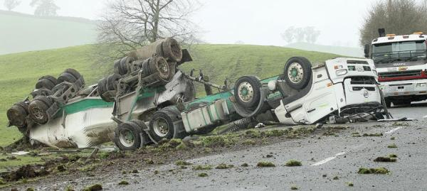 The crash scene where a milk tanker crashed into a power pole and rolled while travelling from Te Awamutu to Cambridge.