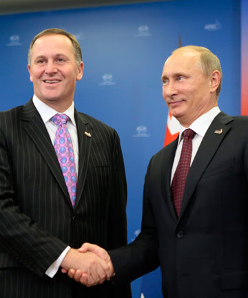 Prime Minister John Key and Russian  President Vladimir Putin during their meet