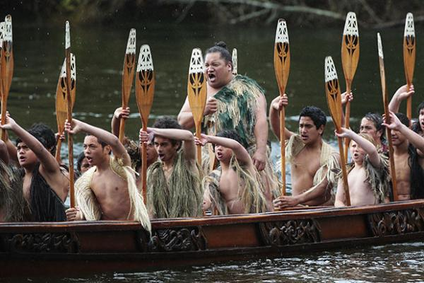 RIVER WARRIORS: A waka full of warriors powers through the water at yesterday's Gallagher Great Race.