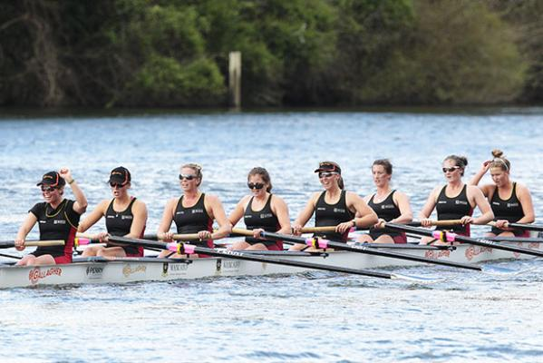 WE DID IT!: The rain held off as the Waikato University women's eight came in first in their race, edging out Sydney and Queensland universities.