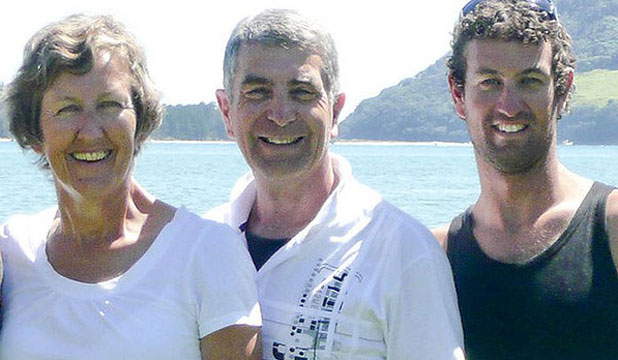 HAPPIER TIMES: Andy Marshall, right, with mum Wendy and dad Alan. The last time they spoke was on Mother's Day. Several hours later Andy was fatally attacked.